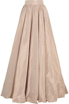 Jenny Packham Pleated silk-taffeta maxi skirt   NET-A-PORTER
