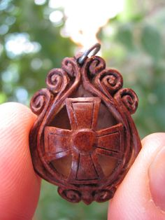 Pit Carved Cross Pendant by PitCutter on Etsy
