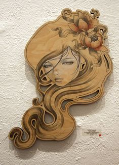 Audrey Kawasaki - Love the face, hair, flowers in the hair (although would prefer different flowers - bit more art nouveau style! Audrey Kawasaki, Art Nouveau, Hair Illustration, Pop Surrealism, Funny Art, Pyrography, Oeuvre D'art, Wood Art, Les Oeuvres