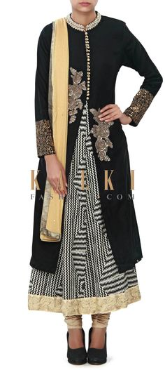 Buy Online from the link below. We ship worldwide (Free Shipping over US$100) Price- $269 Click Anywhere to Tag http://www.kalkifashion.com/black-anarkali-suit-enhanced-in-zardosi-butti-only-on-kalki.html