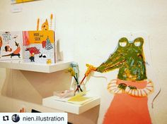 Just a snippet of the stunning work on display as part of #cbigradshow2017 @csacbi  #Repost @nien.illustration with @repostapp ・・・ The big day for our graduation show in London! If you are in London and have time, please come along to the gallery! There are so many great illustrators and books! #drawing #childrensbooks #childrensbook #picturebook #cbigradshow2017 #hideandseek #alligator #illustration