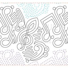 Funky Music - Paper - Quilts Complete - Continuous Line Quilting Patterns Quilting Stitch Patterns, Machine Quilting Patterns, Quilt Stitching, Quilt Patterns, Top Stitching, Machine Embroidery, Quilting Stencils, Quilting Templates, Longarm Quilting