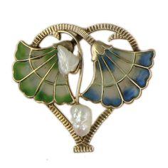 Art Nouveau Plique-á-Jour Enamel and Freshwater Pearl Floral Watch Pin, circa 1900