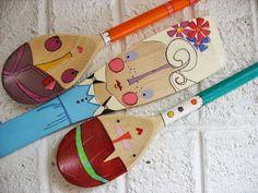 wooden folk art  spoon dolls ... doll faced girls