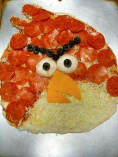 Angry Bird pizza, to all you pizza and angry bird loving fans.........that's one hot pizza!