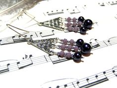 Purple Beaded Earrings  Bohemian Earrings Dangle by LunaEssence