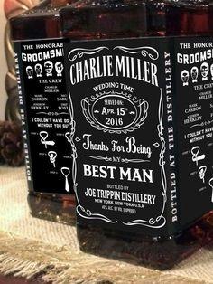 Do your groomsmen love JD? Personalised Jack Daniel labels! #best #man #groom…