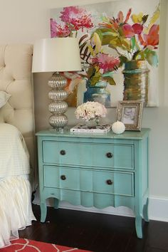 House of Turquoise: Colordrunk Designs turquoise cabinet House Of Turquoise, Turquoise Dresser, Turquoise Cottage, Turquoise Furniture, Turquoise Room, Plywood Furniture, Painted Furniture, Room Ideias, Sweet Home