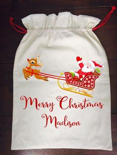 Calico Santa Sack - Cute Sleigh Santa Sack, Santas Workshop, Christmas Stockings, Festive, Merry, Treats, Needlepoint Christmas Stockings, Sweet Like Candy, Goodies