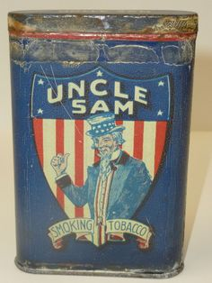 Rare 1900s Uncle Sam Patriotic Tobacco Pocket Tin
