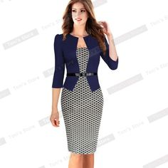 Cheap pencil image, Buy Quality pencil dress pattern directly from China pencil dress Suppliers: Women One-Piece Faux Jacket 2017 Bodycon Women Fashion Sheath Dress Office Lady Patchwork Tunic Knee Length Work Pencil Dresses Dress Outfits, Fashion Dresses, Cute Outfits, Patterned Work Dresses, Office Dresses, Dresses For Work, Business Dress, Business Suits, Business Casual