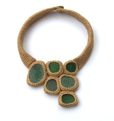 Asta/astash - Unique beige brown necklace with 6 green sea glass cabochons