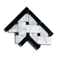 Corner for Honed Bianco Carrara Basketweave Corner with Nero Marquina Dots - BR121CrBlk/H