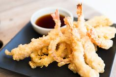 Tempura Shrimp paired with Lee Kum Kee Soy Sauce is a perfect match! Tempura Batter, Beignets, Onion Rings, Fish And Seafood, Japanese Food, Entrees, Shrimp, Fries, Eat