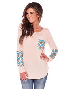 Pale Pink Chevron Sequin Sleeves & Pocket Top