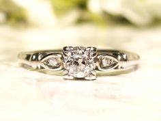Antique Engagement Ring Old European Cut Diamond 0.49ctw Art Deco Engagement Ring 14K White Gold Columbia Diamond Wedding Ring Size 8.5!