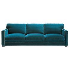 canap 4 5 places fixe velours bleu dandy