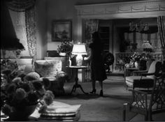 """Gene Tierney's apartment in """"Laura"""" Gorgeous film sets. Go To Movies, Old Movies, House Paint Interior, Interior Design, Laura Movie, Laura 1944, Classic Film Noir, Movie Decor, Home Tv"""