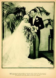 1927 Rotogravure Rod La Rocque Vilma Banky Silent Film Star Wedding Bride Groom