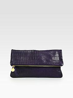 CLARE VIVIER - Crocodile-Embossed Fold-Over Clutch