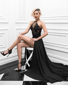 Sexy Prom Dress,Black Prom Dress,High Slit Evening Dress,Long