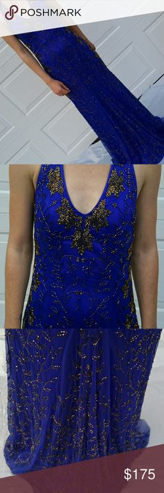 Royal blue and Brass colored beaded gown Sizing; there is no brand or size tag in this gown Purchased at a pageant resale trunk show I wore this once as a size 4/6 Dresses