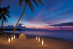 A romantic dinner for two on the beach under a cotton candy sky in Akumal. Romantic Beach Getaways, Romantic Vacations, Romantic Getaway, Honeymoon Spots, Hawaii Honeymoon, Secrets Akumal Riviera Maya, Maya Photo, Holidays To Mexico, At Home Date Nights