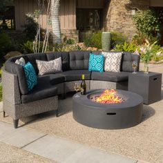 Noble House Mixed Black 6-Piece Wicker Patio Fire Pit Conversation Set with Dark Gray Cushion