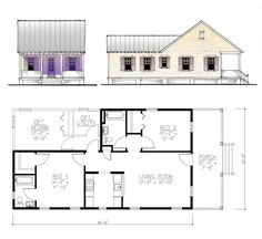 Key West Shotgun House Design. I would change this a lot. Get rid of the front bedroom, expand the Kitchen and put a courtyard in the rear and down the side. I would add a Guest bed upstairs.