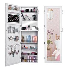 Kitchen Cabinets Ideas | Homdox Jewelry Cabinet Wall Door Mounted Lockable Jewelry Armoire with Mirror and Telescopic Board White >>> Click on the image for additional details.(It is Amazon affiliate link) #beautiful