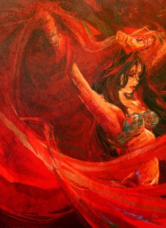 Belly dance paintings make me smile. Art about art! It's art inception! :D