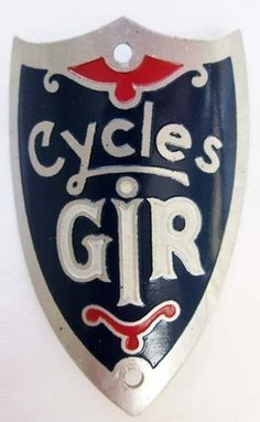 CYCLES GIR BICYCLE HEAD BADGE,