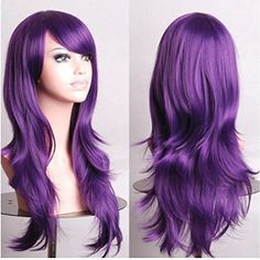 S-noilite 23 inch Hair Costume Wig Heat Resistant Synthetic Hair Halloween Cosplay Wig For Womens Girls - Cosplay wig, Purple