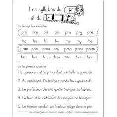 Fichier PDF téléchargeable En noir et blanc 1 page  Les élèves doivent d'abord lire les syllabes données. Ensuite, ils lisent les 5 phrases. Vous pouvez l'utiliser comme feuille de leçons à faire la maison.