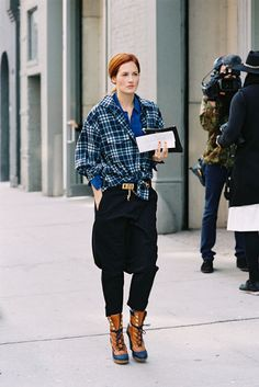 Love this skirt over pants look. TTH via Vanessa Jackman