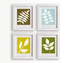 Modern Botanical Art Prints - Set of Four 5x7s (metro) - Wall Decor, Home Decor, Natural Prints, Garden, Gardening, Leaves, Leaf Silhouettes. $39.95, via Etsy.