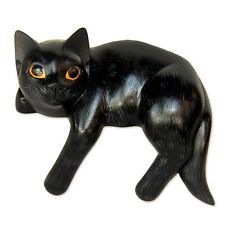 Signed Cat Sculpture 'Black Cat Relaxes' Hand Carved Wood Art NOVICA Bali