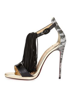 CHRISTIAN  LOUBOUTIN  fringe heels