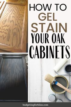 Are you looking to update your old honey oak cabinets on a budget? Learn how with this easy step-by-step guide to using gel stain to transform your cabinets. A simple solution that requires no stripping or sanding. Updating Oak Cabinets, Staining Oak Cabinets, Oak Bathroom Cabinets, Honey Oak Cabinets, Stained Kitchen Cabinets, Old Cabinets, Painting Kitchen Cabinets, Painted Oak Cabinets, Update Kitchen Cabinets