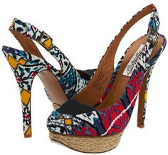 "very fun high heel slingback!...""Overboard"" in Multi from Naughty Monkey (also in 2 stripe options)"