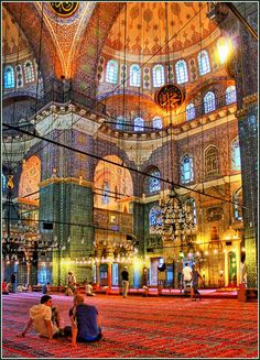 Sultanahmet Mosque, Istanbul, Turkey. we sat for an hour just to take in then beauty!