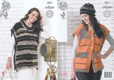 King Cole Urban Knitting Pattern - Tabards & Hat (4331) - Mill Outlets