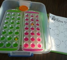 math activity with ice cube trays and dice -- could work for addition, subtraction, or multiplication!