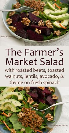 The Farmer's Market Salad with roasted beets, toasted walnuts, lentils ...