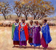 Meeting the Maasai. Pastel, Paintings, Oil, Watercolor, Portrait, Dresses, Fashion, Pen And Wash, Vestidos