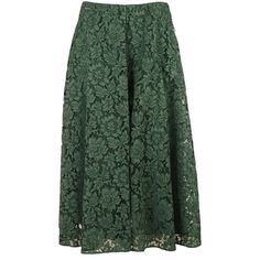 Flared Floral Lace Skirt (6.825 DKK) ❤ liked on Polyvore featuring skirts, jungle green, womenclothingskirts, green lace skirt, flared hem skirt, lacy skirt, floral printed skirt and knee length flared skirts