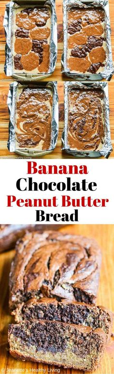 Gluten-Free Banana Chocolate Peanut Butter Quick Bread - perfect for breakfast or as a healthy snack ~ http://jeanetteshealthyliving.com #fcpinpartners