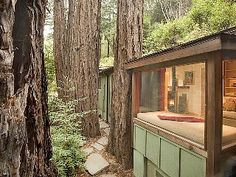 Looking into the cabin at the window seat. - Big Sur cabin vacation rental photo