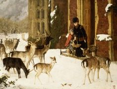 Beautiful painting of two women standing outside their doorstep, where several deer have gathered, searching for food among the snowy plains of winter.