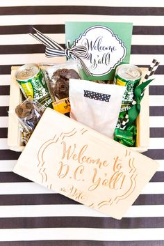 This welcome box is packed with snacks. Inside are welcome letters that notified the guests of the weekend's events, directions and important details.